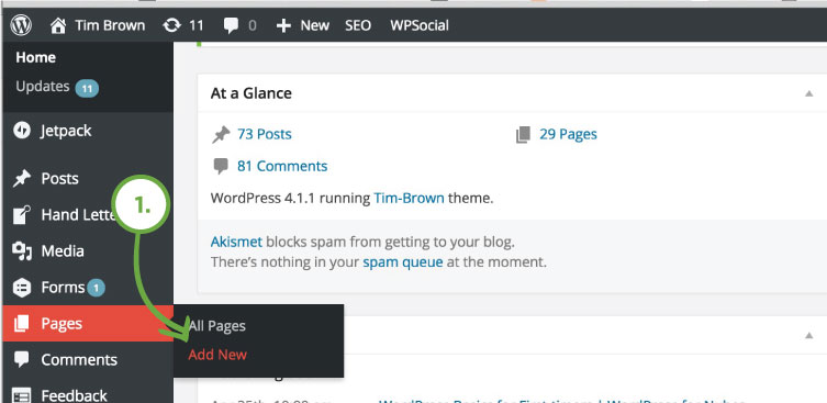 Create a page for the first time - new page in WordPress