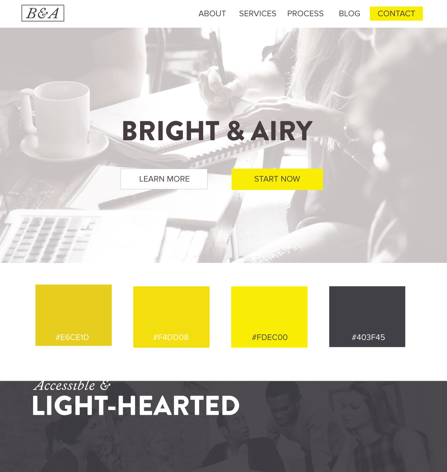 Color Palette Ideas - Web Design - Airy, Accessible, Light, Hearted, Yellow, and dark grey blue