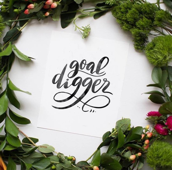 Goal Digger - Hand-lettering Watercolor, Wreath Design