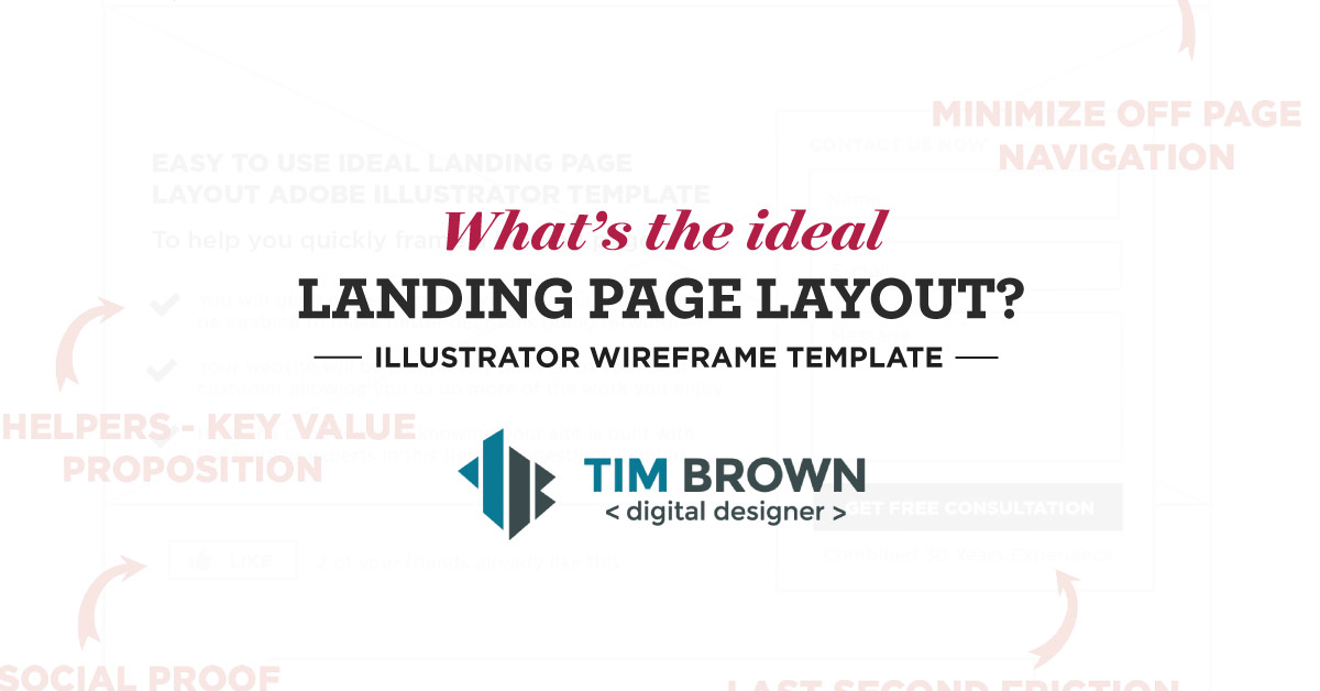 what s the ideal landing page layout wireframe template tim b
