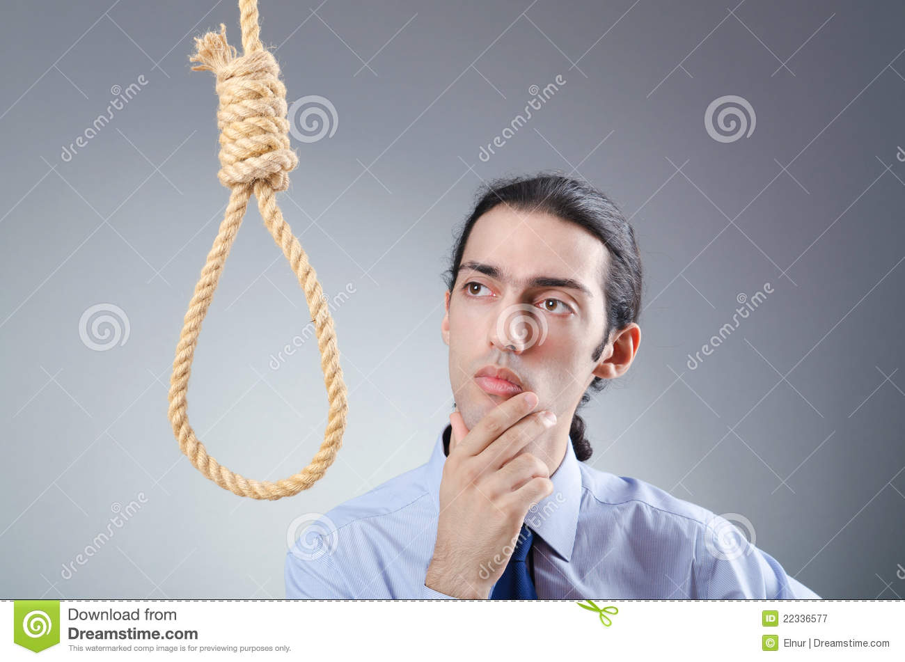 Man with noose - considering suicide meme
