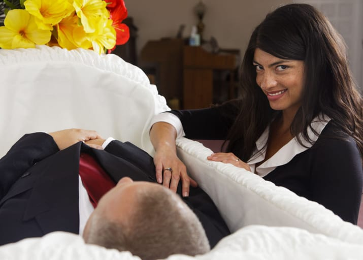 Woman happy about a mans death - shitty stock photos for memes