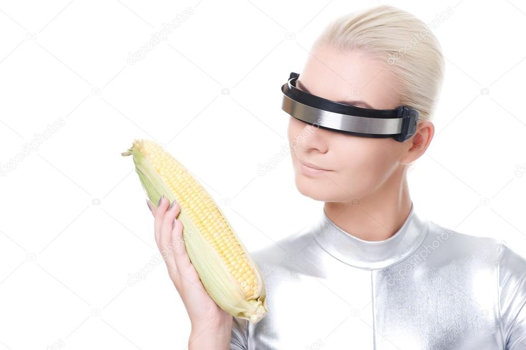 Woman with corn and visor - strange stock photos - meme stock