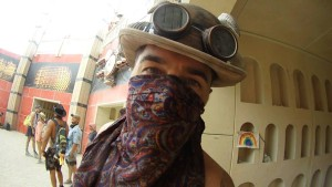 Mask and goggles burning man