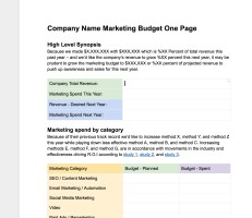 Easy, Free Marketing Budgeting One Page Template